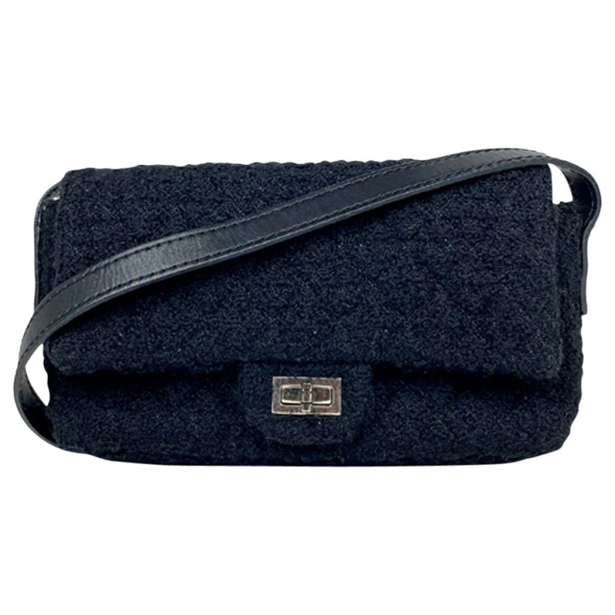 Chanel - Sac a main 2.55 pour femme en tweed - noir