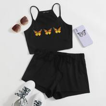 Butterfly Print Cami Top & Track Shorts Set