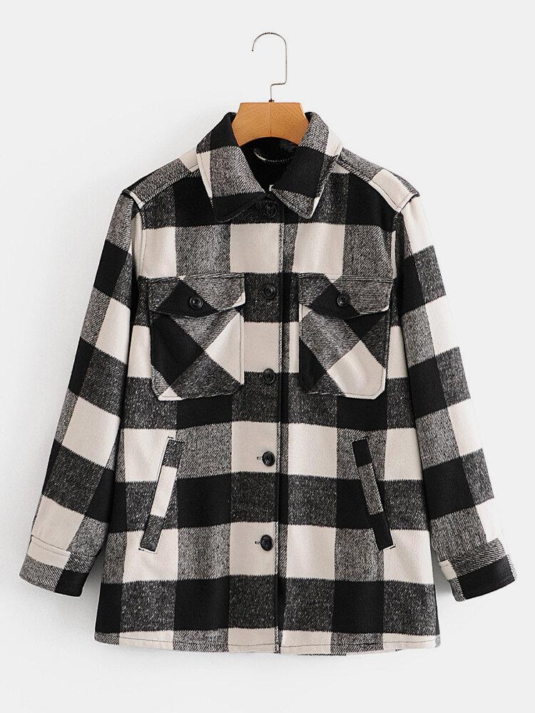 Plaid Print Long Sleeve Lapel Pockets Casual Jacket For Women