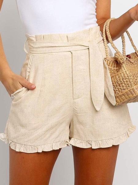 Milanoo Pantalones cortos de mujer Pantalones cortos de poliester casual Pantalones cortos de verano