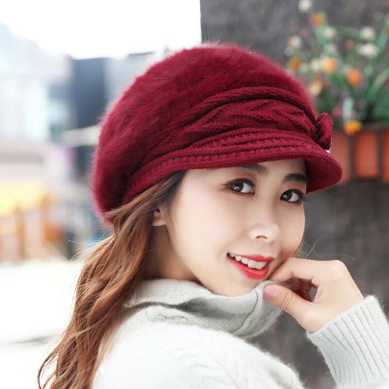 Women Winter New Knit Hat Plus Velvet Rabbit Fur Hat Wholesale Thick Warm Outdoor Hat