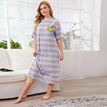 Plus Drop Shoulder Banana Print Striped Nightdress