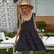 Polka Dot Tie Shoulder Cami Babydoll Dress