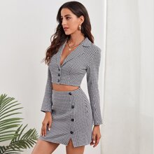 Notched Collar Buttoned Front Houndstooth Blazer & Skirt Set