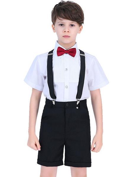 Milanoo El portador del anillo se adapta a la camisa de manga corta de algodon pantalones Cravat Wedding Boy Trajes 3pcs