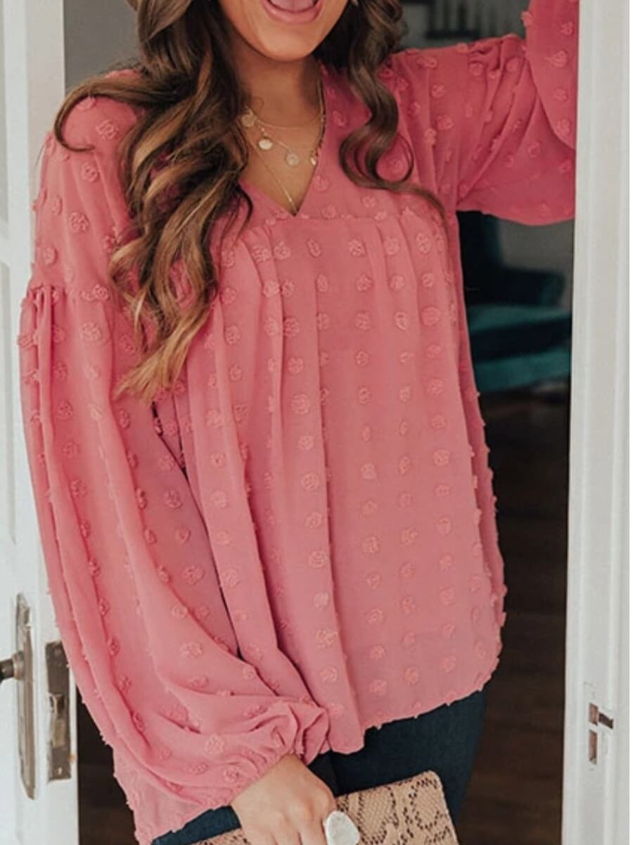 LW Lovely Stylish V Neck Fold Design Loose Pink Blouse