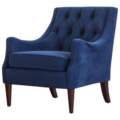 1900121-347 Marlene Velvet Fabric Tufted Accent Chair  in Navy