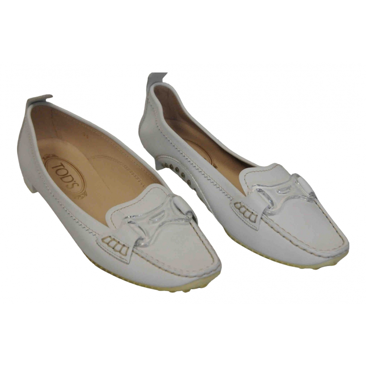 Tod's \N White Leather Flats for Women 37 EU