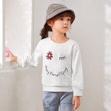 Sweatshirt mit Blumen und Buchstaben Muster
