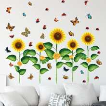 Wandaufkleber mit Sonnenblumen Muster
