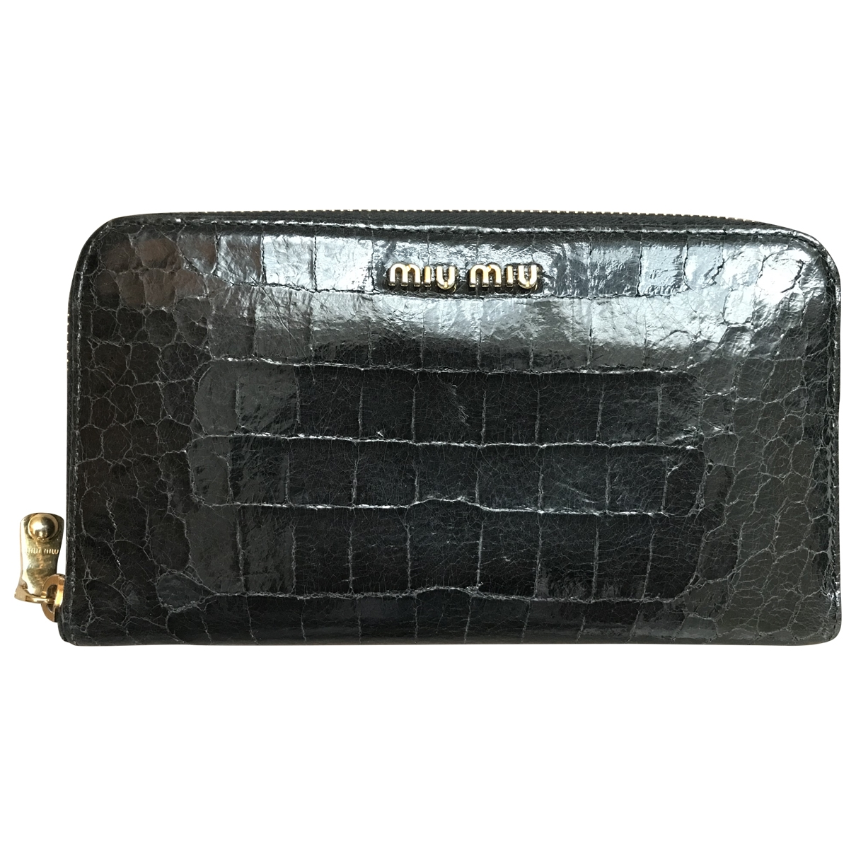 Miu Miu - Portefeuille   pour femme en cuir - noir