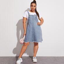 Plus Raw Hem Button Side Denim Overall Dress