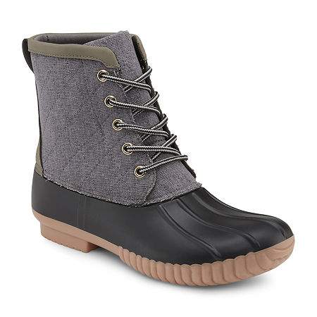 Olivia Miller Womens Duck Boots Flat Heel, 9 Medium, Gray