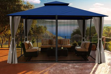 Kingsbury GZ584NNK2 11' x 14' Gazebo with Navy Color Roof and Privacy Curtains and Mosquito