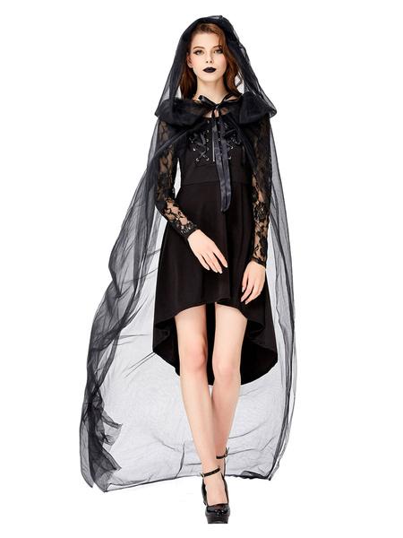Milanoo Demon Halloween Costumes Black Woman Lace Cloak Dress Tulle Halloween Holidays Costumes