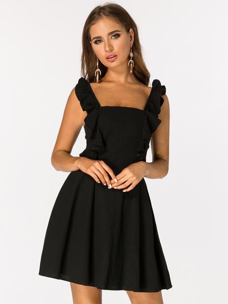 Yoins Black Cut Out Back Self-tie Sleeveless Ruffle Mini Dress