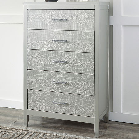 Signature Design by Ashley Olivet 5-Drawer Chest, One Size , Silver