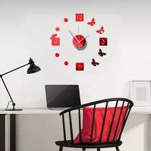 Butterfly Design Mirror Surface Wall Clock