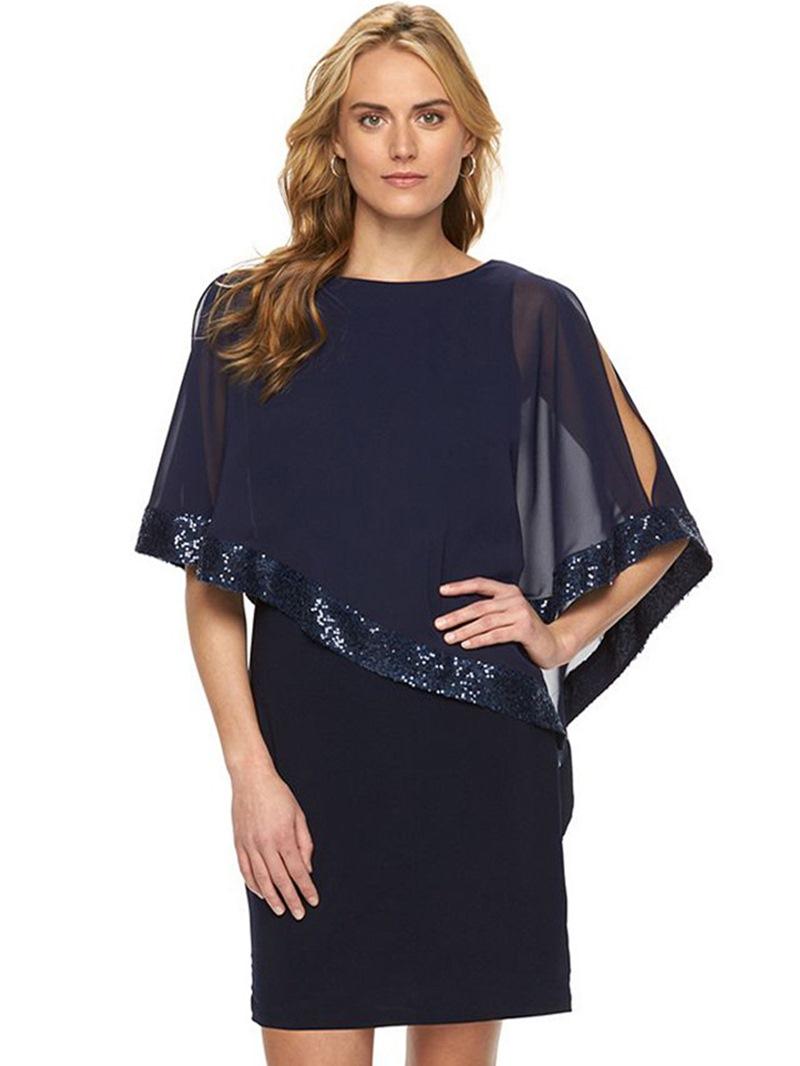 Ericdress Scoop Ruffle Sequin Patchwork Bodycon Dress