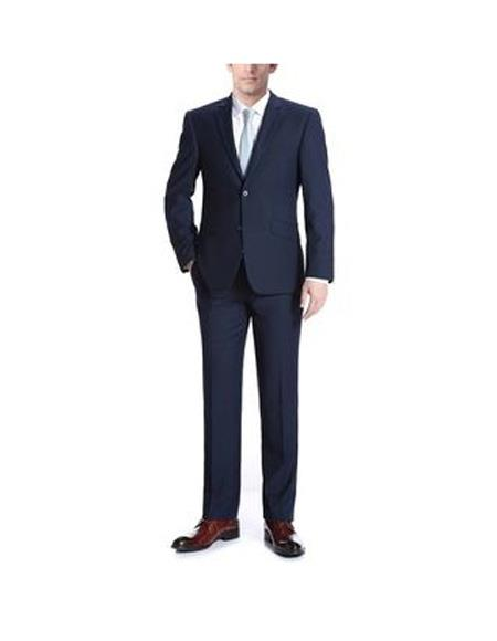 Verno Men's Single Breasted Solid Pattern  Slim Fit Wool Suit In Navy