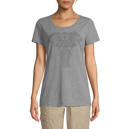 St. John's Bay-Womens Crew Neck Short Sleeve T-Shirt, Medium , Gray