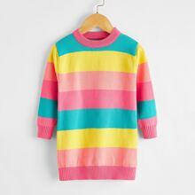 Pulloverkleid mit Regenbogen Streifen