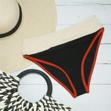 Geripptes Bikini Hoschen mit Farbblock und hoher Taille