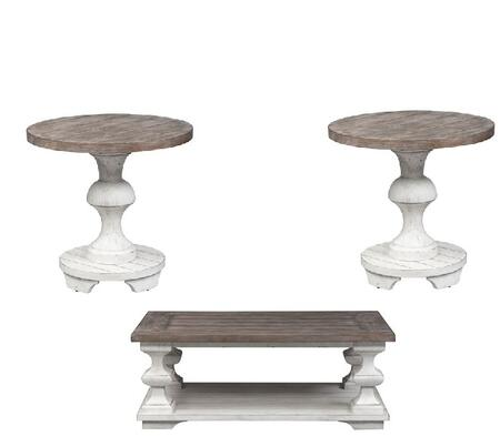 Sedona Collection 331-OT-3PCS 3PC Cocktail and End Table Set with Square Turned Legs  Heavy Planked Tops and Square Peg Accents in Heavy Distressed