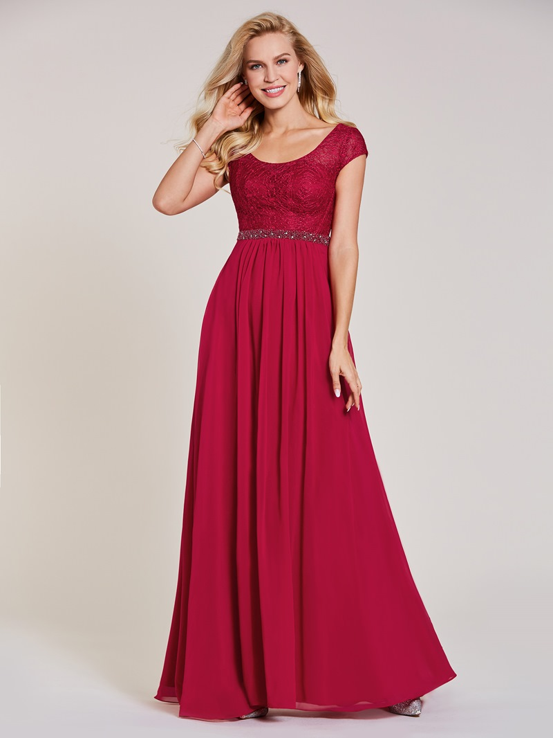 Ericdress V Neck Lace A Line Long Evening Dress