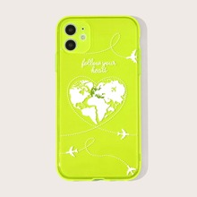 1pc Neon Green Map Print iPhone Case