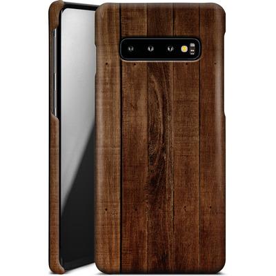 Samsung Galaxy S10 Smartphone Huelle - Dark Wood Floor von caseable Designs