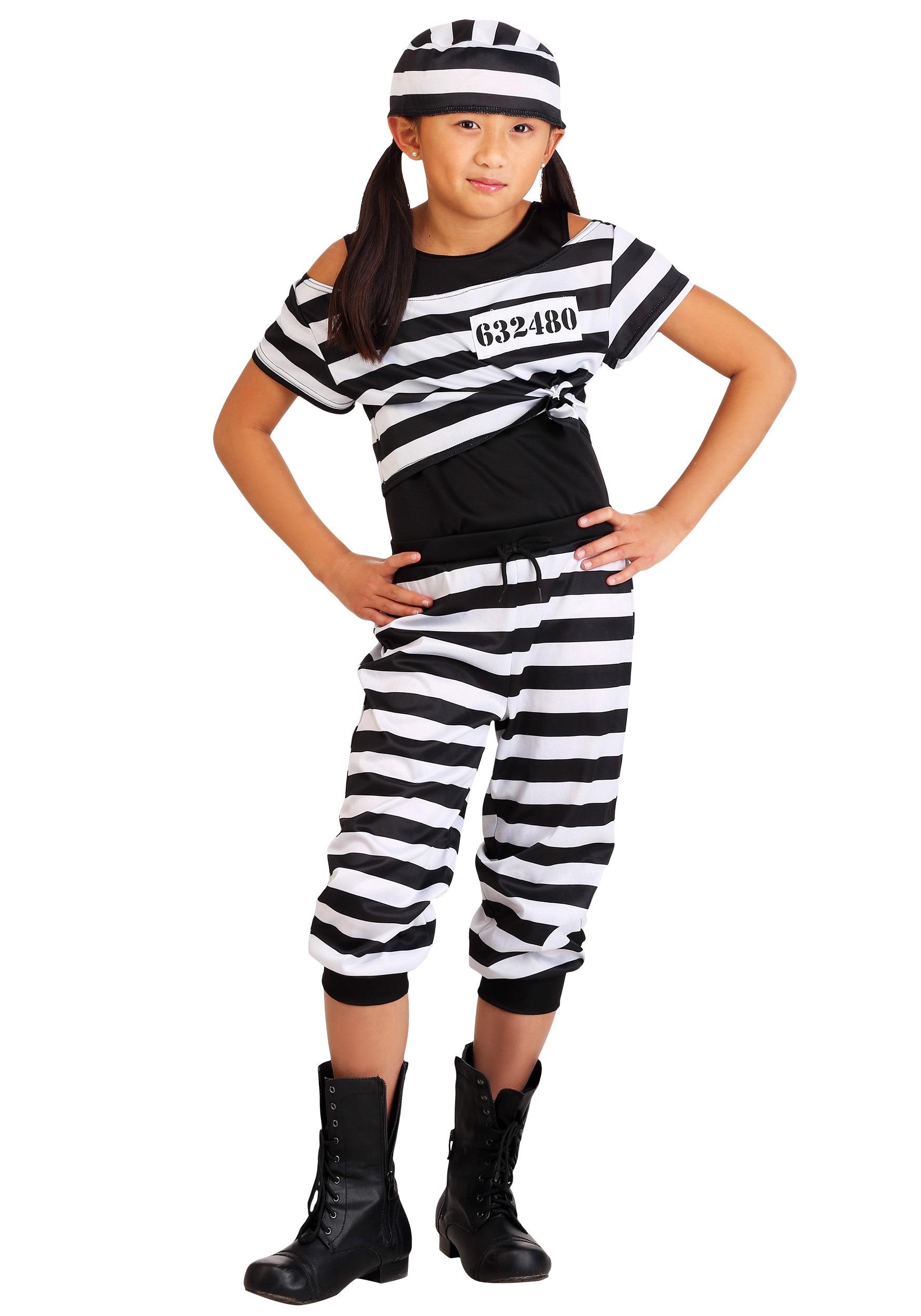 Striped Prisoner Girls Costume