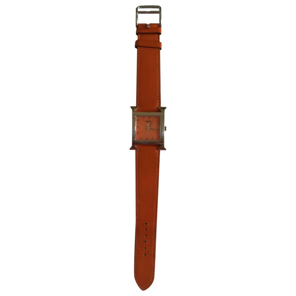Hermes Heure H Uhr in  Orange Stahl