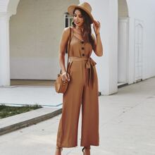 Button Front Wide Leg Belted Cami Jumpsuit