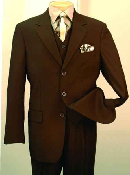 Mens 3 Piece Suit Brown 3 Button Jacket Wool with Vest Cheap