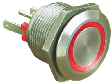 Bulgin Single Pole Single Throw (SPST) Momentary Red LED Push Button Switch, IP66, 19.2 (Dia.)mm, Panel Mount, 24V dc