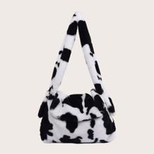 Bolso de hombro mullido con solapa con patron de vaca