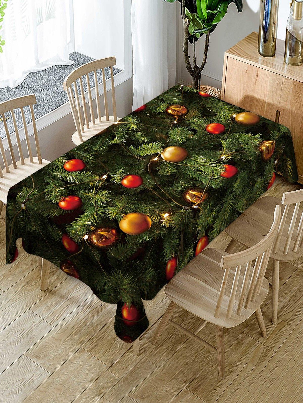 Christmas Tree Balls Print Fabric Waterproof Tablecloth