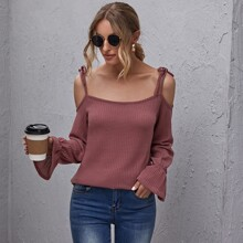 Knot Straps Bell Sleeve Waffle Knit Top
