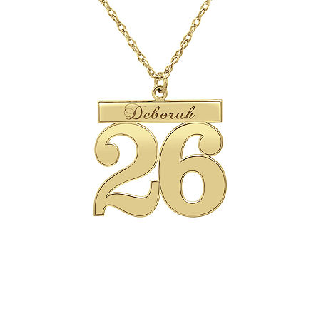 Womens Personalized 14K Gold Pendant Necklace, One Size , No Color Family