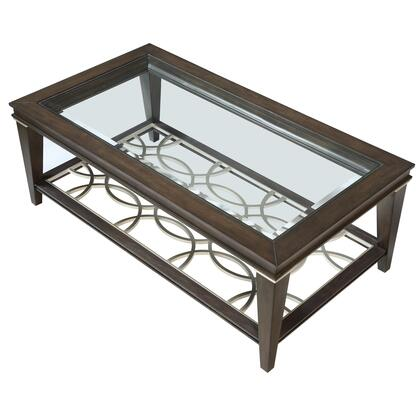 BM218418 Wooden Sofa Table with Beveled Glass Top and Tapered Legs