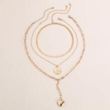 3pcs Heart Charm Y-lariat Necklace
