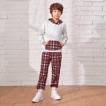 Boys Kangaroo Pocket Plaid Hoodie & Sweatpants Set