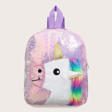 Girls Unicorn Design Sequins Decor Backpack