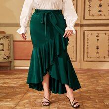 Plus Ruffle Trim Belted Asymmetrical Mermaid Skirt