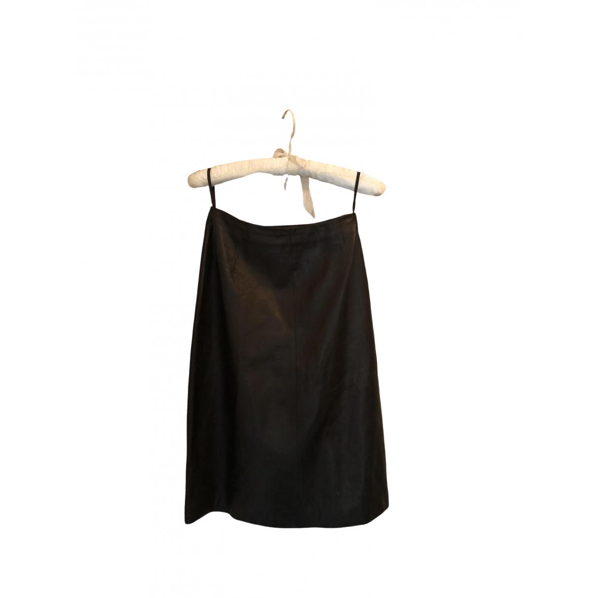Falda midi de Cuero Prada