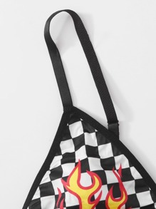 Fire Print Checkerboard Lingerie Set