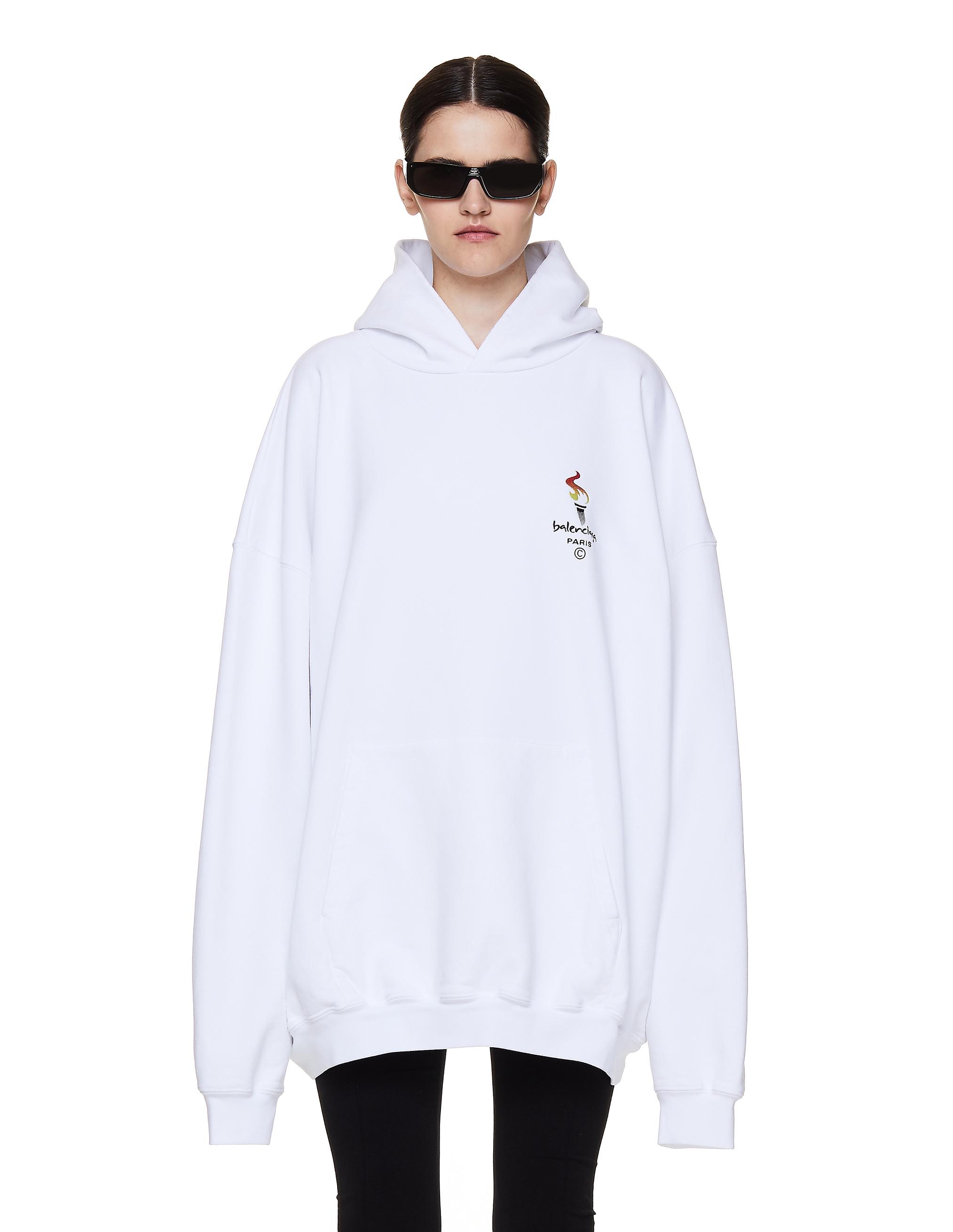 Balenciaga White Cotton Embroidered Hoodie