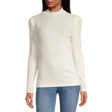 a.n.a-Womens Mock Neck Long Sleeve T-Shirt, X-large , White