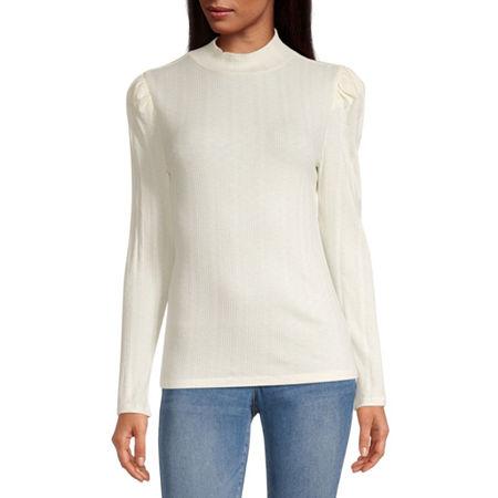 a.n.a-Womens Mock Neck Long Sleeve T-Shirt, Xx-large , White
